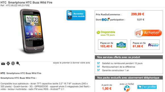 HTC Wildfire en pré-commande sur Rue Du Commerce