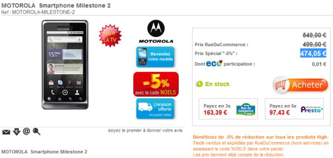 Le Motorola Milestone 2 disponible en exclusivité sur RueDuCommerce !
