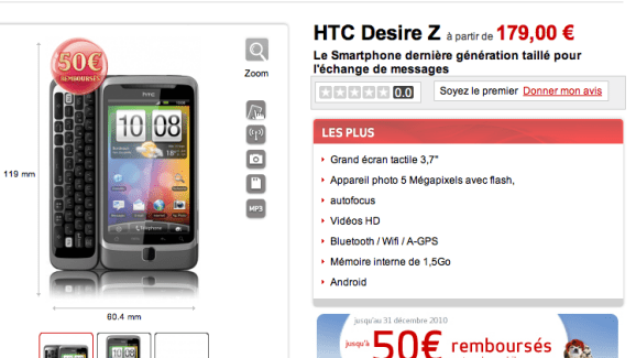 Promotion : HTC Desire Z et Samsung Galaxy Tab chez Virgin Mobile