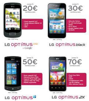 Jusqu'au 31 mai, LG propose des offres de réduction sur les Optimus 2X, Black et One