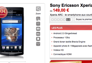 Vente flash sur le Sony Ericsson Xperia Arc avec Virgin Mobile