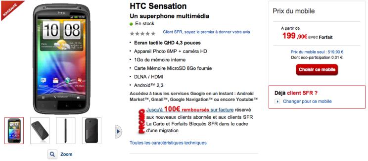 Le HTC Sensation est enfin disponible chez SFR !