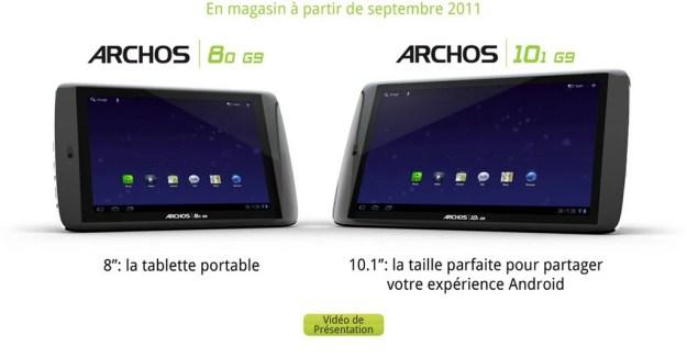 Archos Gen9 : Prix et dates de disponibilités officielles