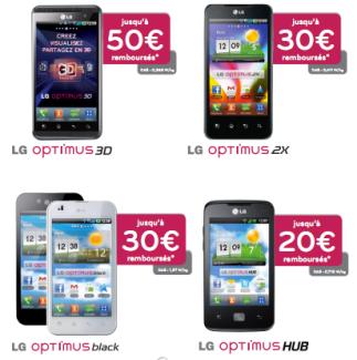 LG propose une offre de remboursement sur les Optimus 3D, 2X, Black et Hub en France