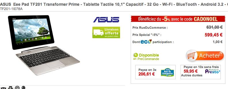 RueDuCommerce référence l'Asus EeePad Transformer Prime