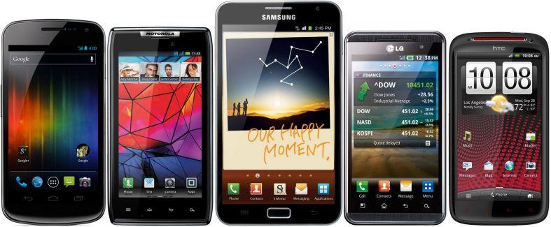 Comparaison entre le Google Galaxy Nexus, le Motorola RAZR, le Samsung Galaxy Note, le LG Optimus 3D et le HTC Sensation XE