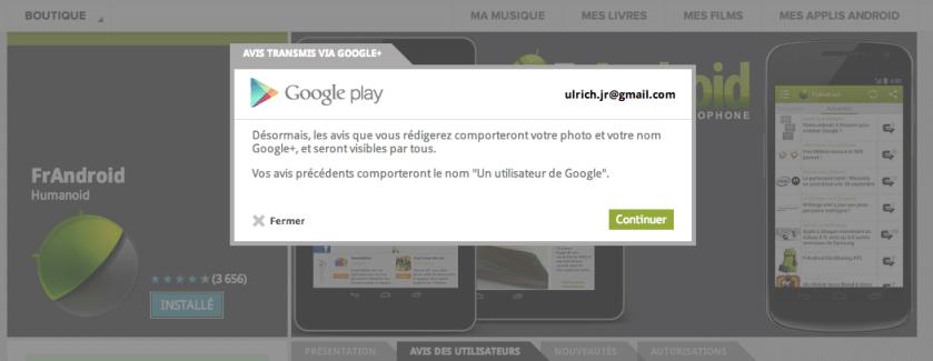 Google Play : Votre compte est désormais rattaché à Google+