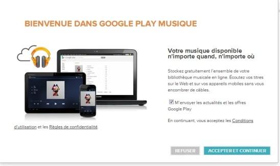Google Play Musique, l'achat et le stockage en ligne sont désormais officiellement disponibles en France