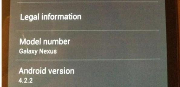 Android 4.2.2 se confirme également sur Galaxy Nexus