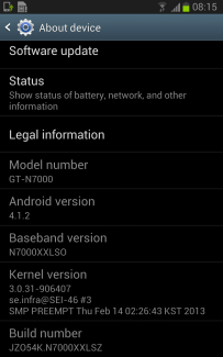 Android 4.1.2 arrive tranquillement sur le Galaxy Note