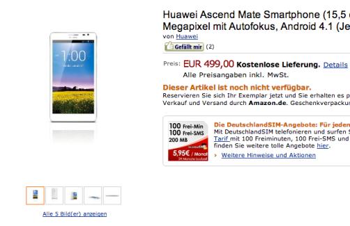 500 euros pour le Huawei Ascend Mate