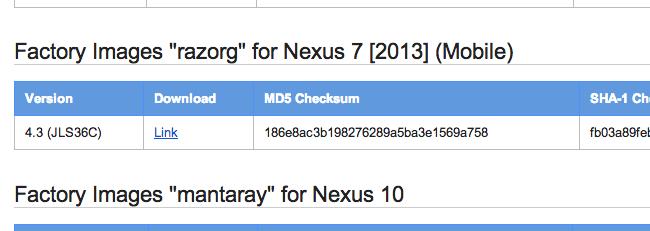 Android 4.3 «JLS36C», une nouvelle image de restauration pour la Nexus 7 LTE (2013)