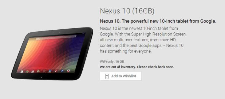 La Google Nexus 10 est en rupture de stock sur le Play Store US