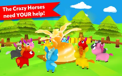 Crazy Horses: Unstabled!, sauvez les chevaux colorés des taureaux enragés