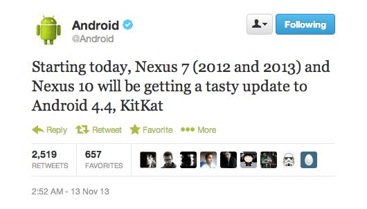 Android 4.4 KitKat s'invite sur les Nexus 7 et Nexus 10