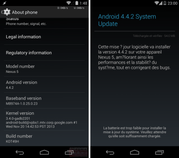 Android 4.4.2 «KOT49H» débarque sur Nexus 4, Nexus 5, Nexus 7 (2012/2013) et Nexus 10