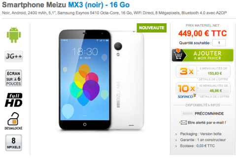 Le Meizu MX3 est disponible en précommande chez Materiel.net !