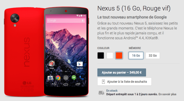 Le Nexus 5 est disponible en rouge sur le Google Play