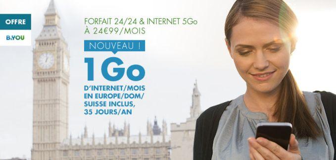 B&YOU offre un 1 Go de data gratuite en itinérance en Europe et dans les DOM