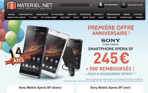 Bon plan : Sony Xperia SP à 195 euros avec 40 euros d'accessoires offerts