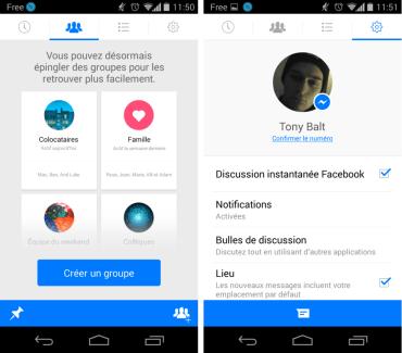 Facebook Messenger 4.0 permet de créer des groupes de contacts sur Android