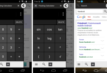 L'application Floating Calculator disponible sur Android