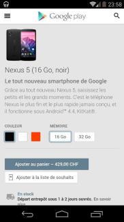 En Suisse, le Google Play référence enfin les Nexus