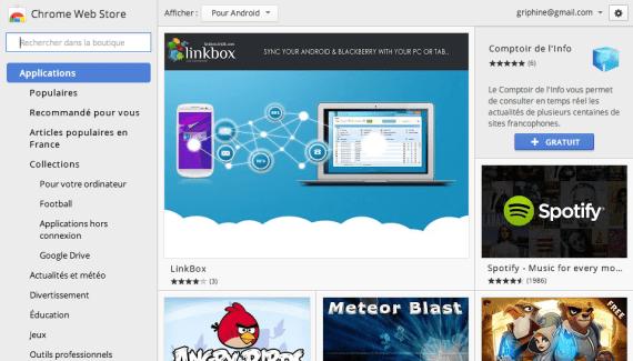 Le Chrome Web Store indique désormais si une extension existe sous la forme d'application Android