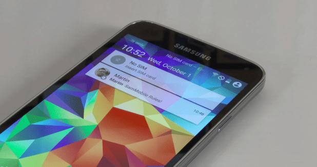 Le Samsung Galaxy S5 sous Android L avec le Material Design se montre en vidéo
