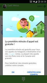 Hangouts : La première minute d'appel gratuite jusqu'à la fin de l'année
