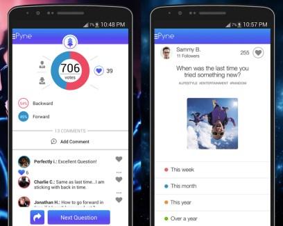 Pyne pour Android, le réseau social du sondage