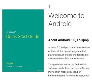 Google publie le «Quick Start Guide» d'Android Lollipop
