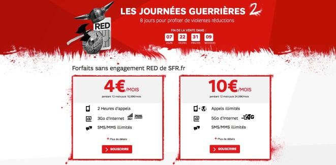 SFR lance ses journées guerrières avec de la 4G à 10 euros