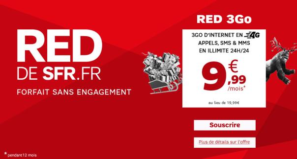 Bon plan : le forfait RED 3 Go de SFR à 9,99 euros pendant un an