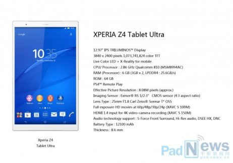 Sony préparerait une tablette de 13 pouces ultra-puissante, la Xperia Z4 Tablet Ultra