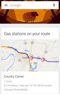 Google Now indique aussi les stations-service aux Etats-Unis