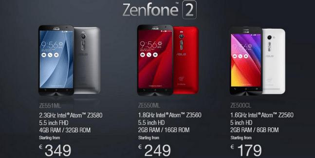 Asus Zenfone 2 : les prix et les disponibilités en France