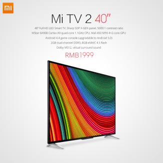 Xiaomi présente sa nouvelles Mi TV 2 : pas de 4K mais un prix divisé par deux