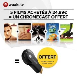 Bon plan : un Chromecast + 5 films = 21,90 euros seulement avec Wuaki