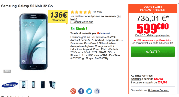 Bons plans flash : Galaxy S6 à 599 euros, LG G4 à 461 euros et HTC One M9 à 481 euros