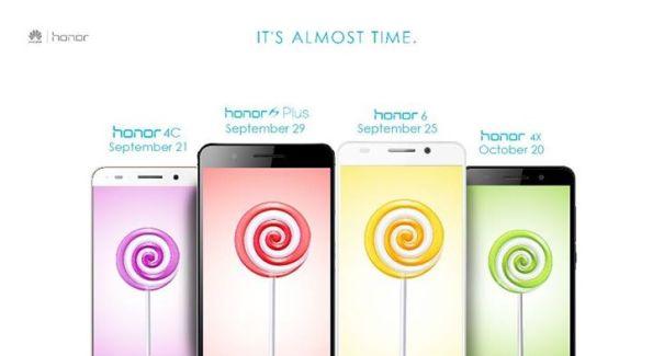 Les Honor 4C, 6, 6 Plus et 4X recevront Lollipop à partir de fin septembre en Inde