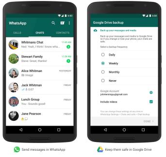 WhatsApp permet maintenant de sauvegarder ses conversations dans Google Drive