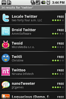 Les applications Twitter sur l'Android Market… partout !