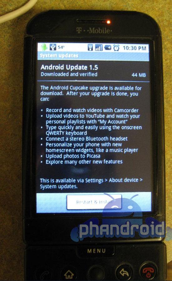 Mise à jour vers Android Cupcake des G1 T-Mobile