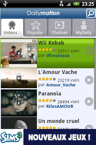 Dailymotion en application sur Android
