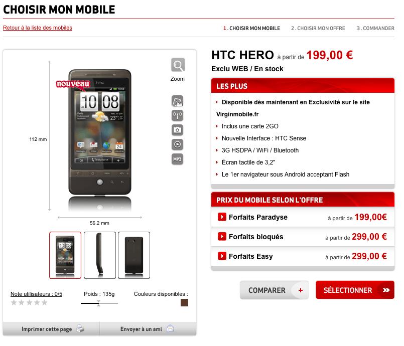 HTC Hero re-disponible sur Virgin Mobile, et il est plus cher !