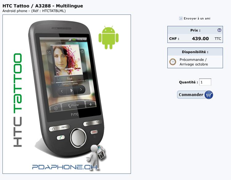 HTC Tattoo en pré-commande en Suisse et Belgique à 439 CHF et 339 euros