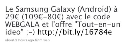 Le Samsung Galaxy à 29€ (109€-80€) chez Bouygues Telecom