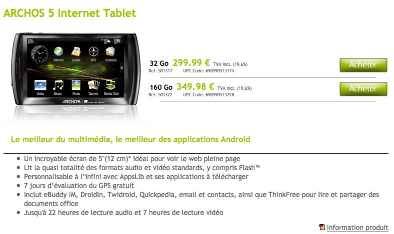 L'Archos 5 Internet Tablet disponible sur l'Archos Store