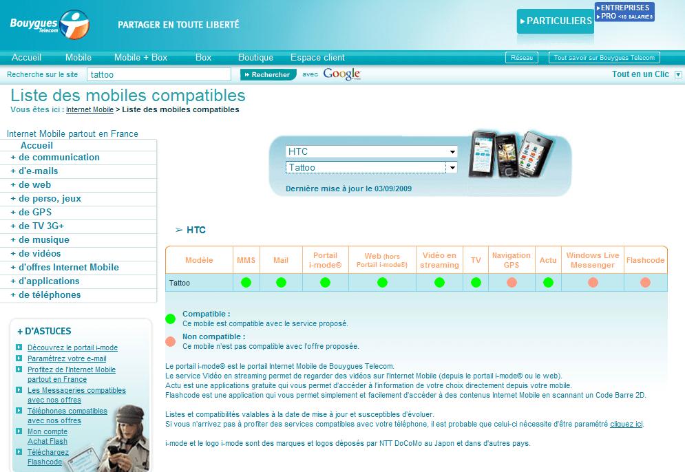 Apparition du HTC Tattoo sur le site de Bouygues Telecom